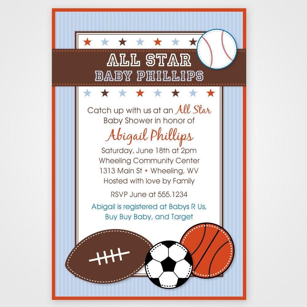 all star sport printable baby shower invitation any color