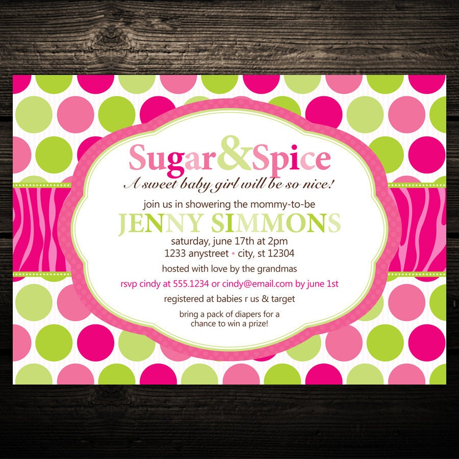 hot pink and lime invitation polka dot baby by littlebeesgraphics, Baby shower
