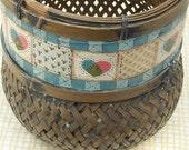 Hand Painted Basket, Gift Basket, flower basket