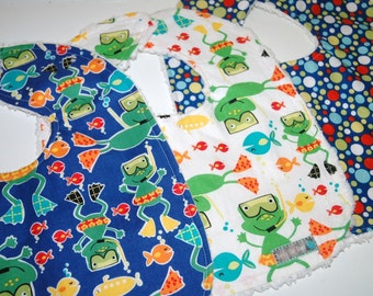 MoDeRN Baby/Toddler Boy Bibs, Set of 3, Michael Miller Scuba Doo Frogs with White Chenille. ReADy To ShIP