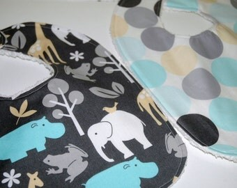 MoDeRN Baby-to-Toddler Boy Bibs, Set of 2, Michael Miller Zoology and Dots in Sea with White Chenille. REadY To ShIP