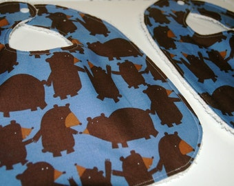 MoDeRN Baby/Toddler Boy Bibs, Set of 2, Free Spirit's Get Together Bears with White Chenille. REaDY To ShiP