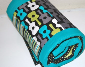 "MoDeRN Baby Boy Crib Sized,Toddler Bed 34"" X 52"" Quilt, Michael Miller's Groovy Guitars and Lagoon fabrics with YoUR ChOICe Minky w/ binding"