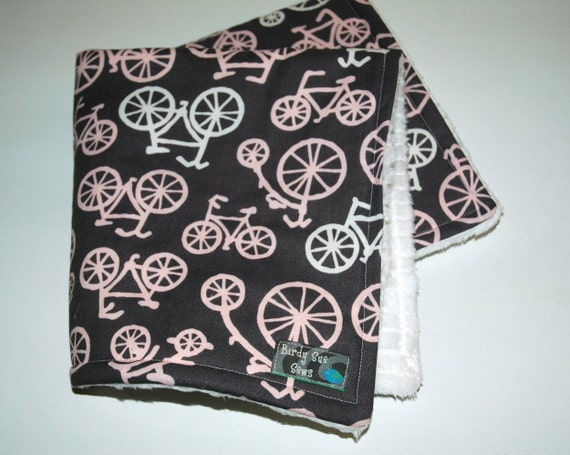 Baby Girl Travel Blanket, Michael Miller Bicycles in Pink with White SuPEr SoFT Minky. REadY To ShIP
