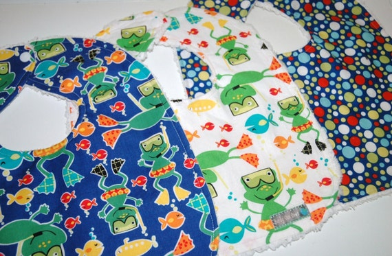 ReADy To ShIP! MoDeRN Baby/Toddler Boy Bibs, Set of 3, Michael Miller Scuba Doo Frogs with White Chenille