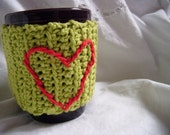 Crocheted Green Mug Cozy with Red Heart