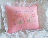 Pink Embroidered Pillow I Am a Child of God