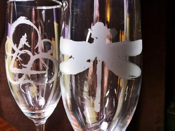 Coheed and Cambria Keywork Dragonfly etched champagne flutes