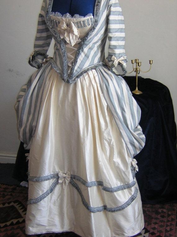 georgian polonaise dress in raw silk blue and cream stripe