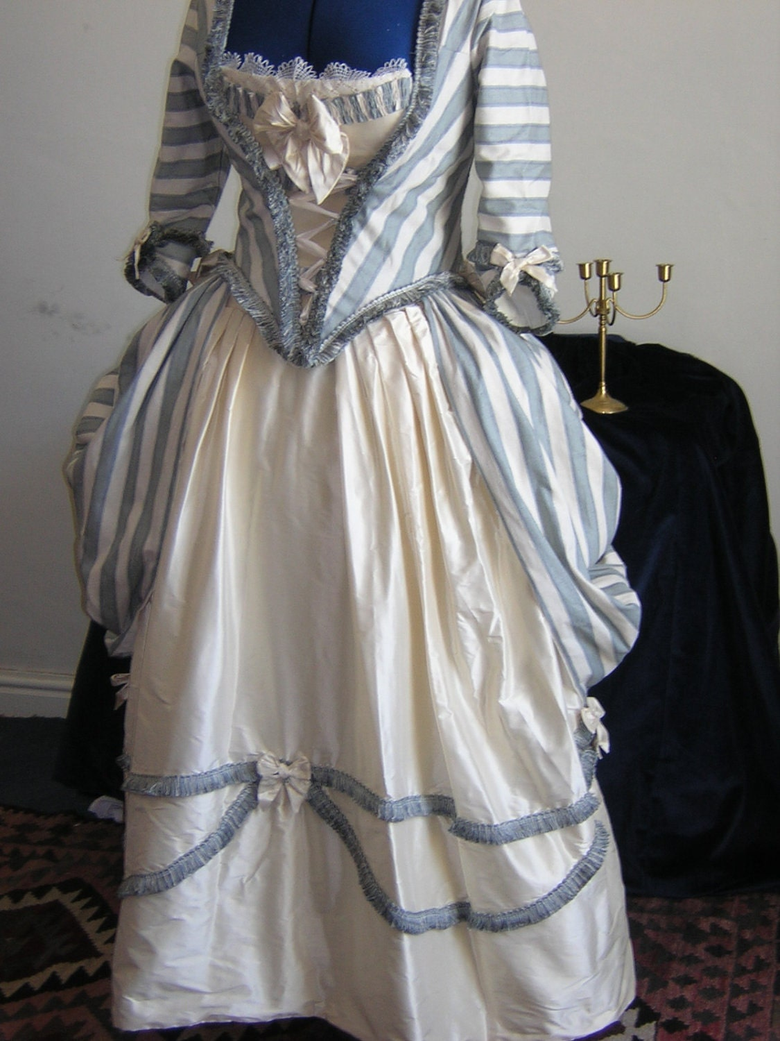Georgian polonaise dress in raw silk blue and by classiccostume