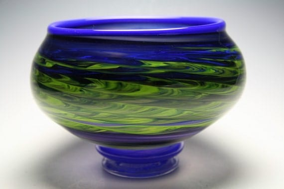 Blown Glass Bowl - Glass Vessel  - lapis  blue chartreuse  eggplant -  bowl - handmade glass - ooak glass