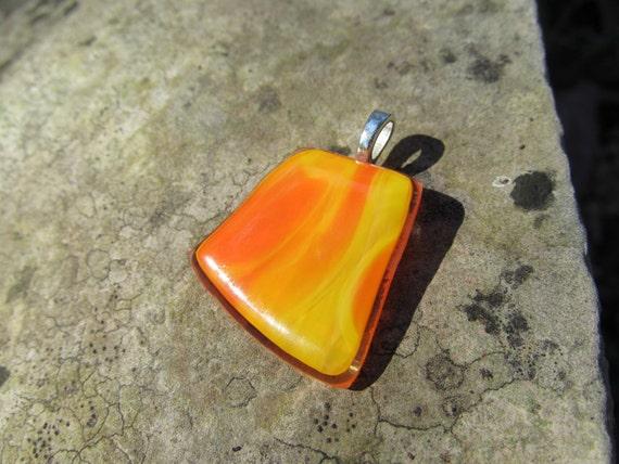 Fused Glass Pendant Recycled UpCycled Yellow Orange