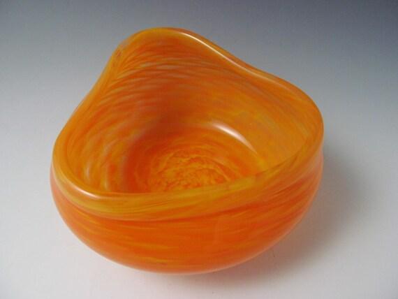 Blown Glass Bowl - Small bowl in yellow orange - yellow - orange - handmade