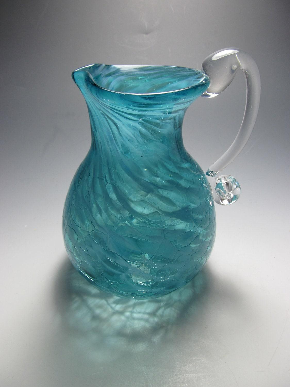 Blown Glass Pitcher Vase Crackle Glass Pitcher Creamer