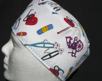 Surgical Scrub Hat with Thermometers Crutches Band Aids