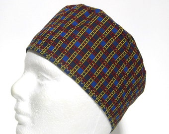 Mens Scrub Hat, Surgical Cap or Chemo Cap with Yellow and Red Lines on Blue