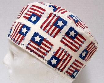 Mens Patriotic Scrub Hat, Chemo Cap, Scrub Cap with Stars and Stripes