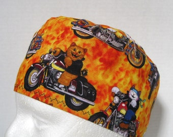 Scrub Hat or Skull Cap Cool Cats on Motorcycles