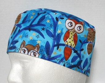 Scrub Hat, Surgical Cap, Chemo Cap Owls on Blue