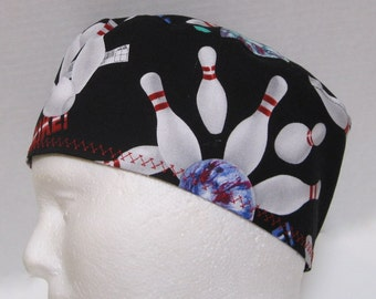 Mens Scrub Hat, Surgical Cap or Skull Cap with Bowling Balls and Pins