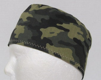 Mens Scrub Hat or Surgical Cap in Green and Black Camo