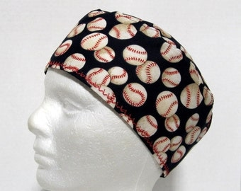 Mens Scrub Hat, Surgical Cap, Operating Room Cap with Baseballs on Navy Blue
