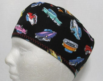 Mens Scrub Hat or Skull Cap with Classic Cars