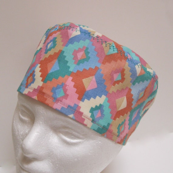 Scrub Hat or Chemo Hat Pastel Southwest Tribal Colors