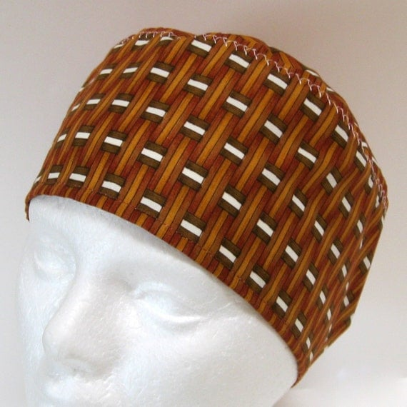 Mens Scrub Hat or Chemo Hat Golden Brown Woven Wood Tones