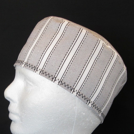 Standard Surgical Scrub Hat Or Chemo Hat with Black and White Lines