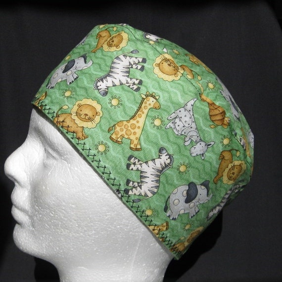 Mens or Womens Scrub Hat with Lions Elephants and Zebras