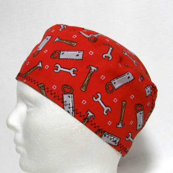 Mens Scrub Hat, Skull Cap or Chemo Hat with Tools