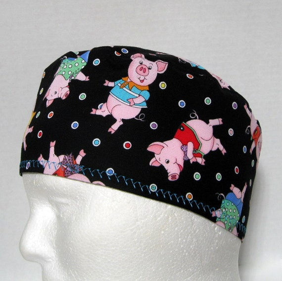 Scrub Hat or Chemo Hat with Dancing Pigs