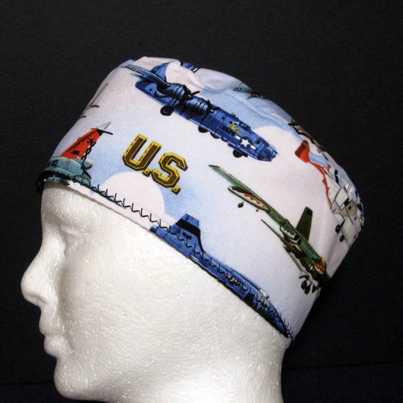 Unisex Scrub Hat with Air Force and Navy Airplanes