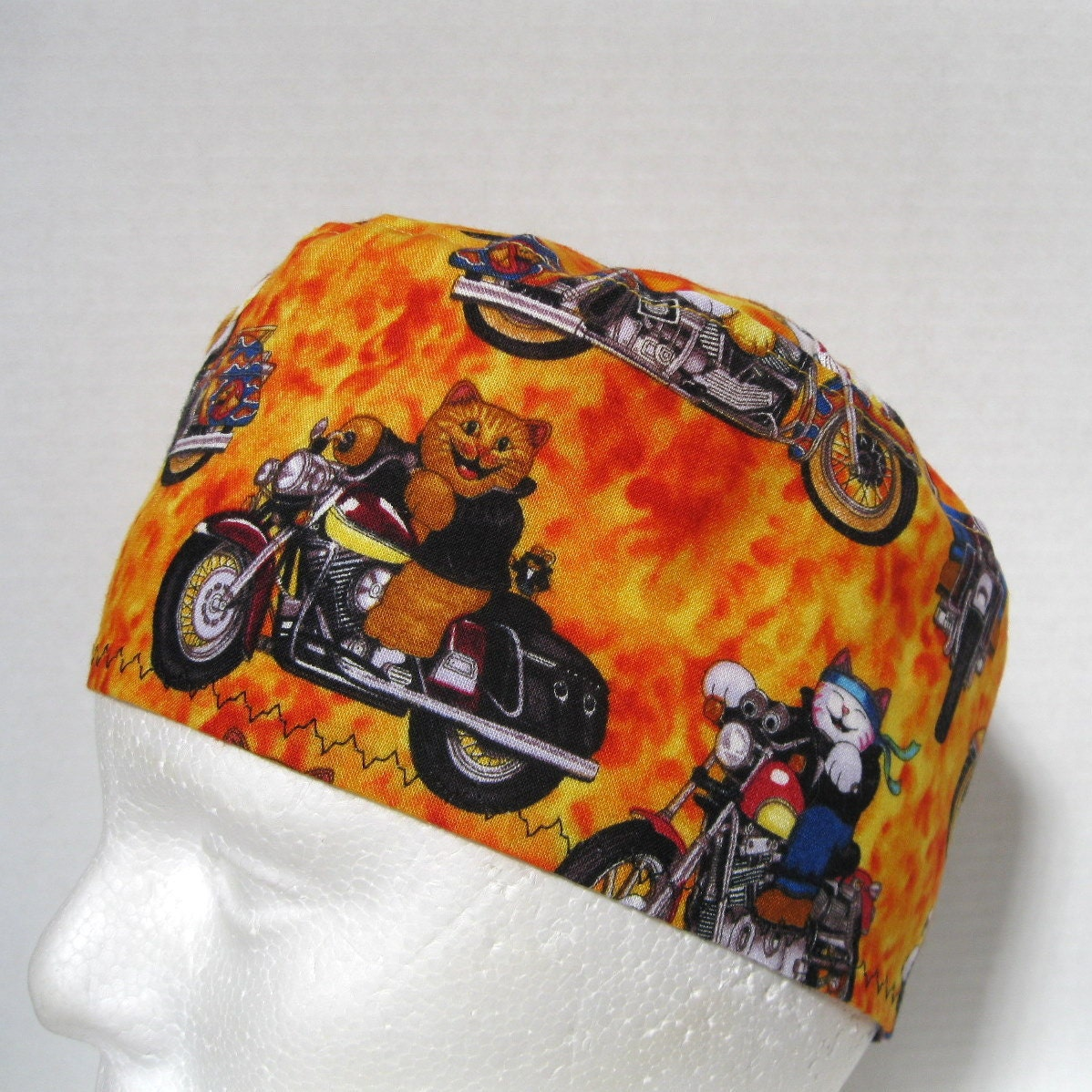 scrub hat surgical cap or skull cap cool cats on motorcycles