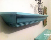 SALE -- Muted Teal Distressed Floating Shelves (2)
