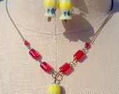 SALE...Red Vintage Glass Necklace and Earrings Set,  Red and Yellow, Brass Necklace
