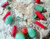 Red and Turquoise Charm Bracelet, Red Coral, Fun for Summer