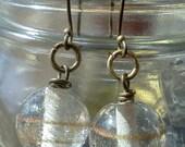 Clear Glass Swirl Earrings, Antique Brass Earrings, Clear and Gold