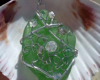 Large Green Sea Glass Pendant, Kauai Seaglass Necklace