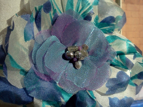 CLEARANCE. Something Blue,  Silk Flower with Pearls and Crystals