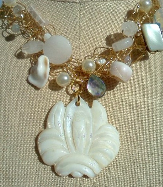CLEARANCE. Lotus Necklace, Mother of Pearl and Shells , Wire Crochet Jewelry, Boho Beach Bride