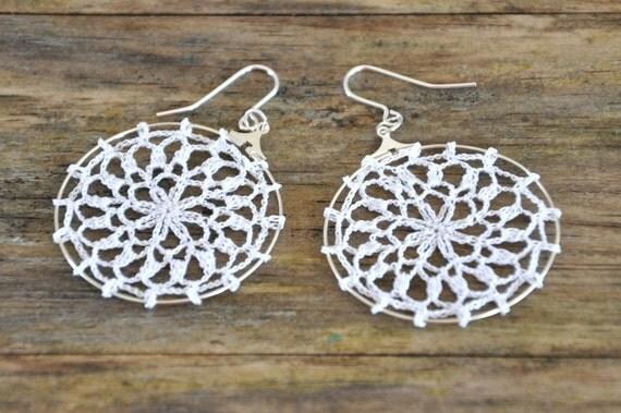 Delicate Lacy Earrings - White