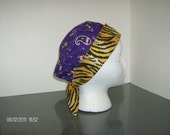 LSU Bandana with Tiger Stripes 2 in 1 Chemo/Pixie Surgical Scrub Cap