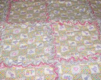 REDUCED PRICING: Infant Girls Nursery Print Rag Quilt
