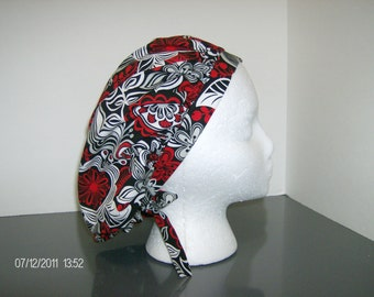 Red and Black Floral Bouffant Surgical Scrub Cap