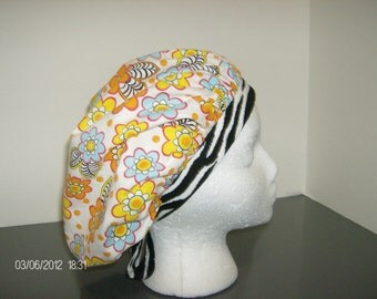 Orange Tropical Floral and Zebra Stripe Bouffant Surgical Scrub Cap