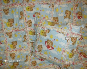 Infant Dreaming Teddy Bears Rag Quilt and Pillow Gift Set
