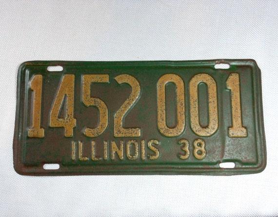 1938 Illinois License Plate