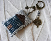 Turquoise house keychain or purse charm
